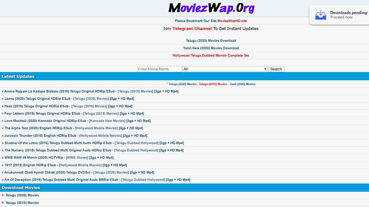 Telugu Moviezwap 2020 Download Telugu, Tamil, Kannada, Hindi Movies