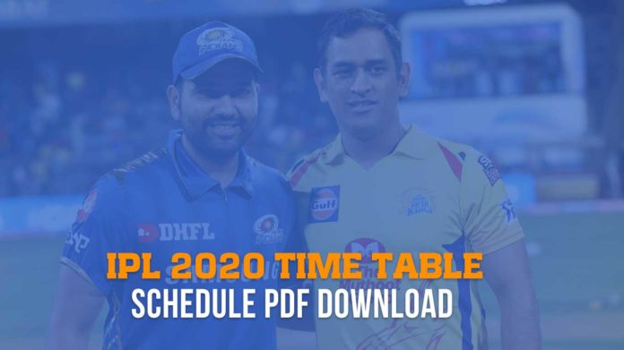 IPL 2020 time table, Schedule pdf download