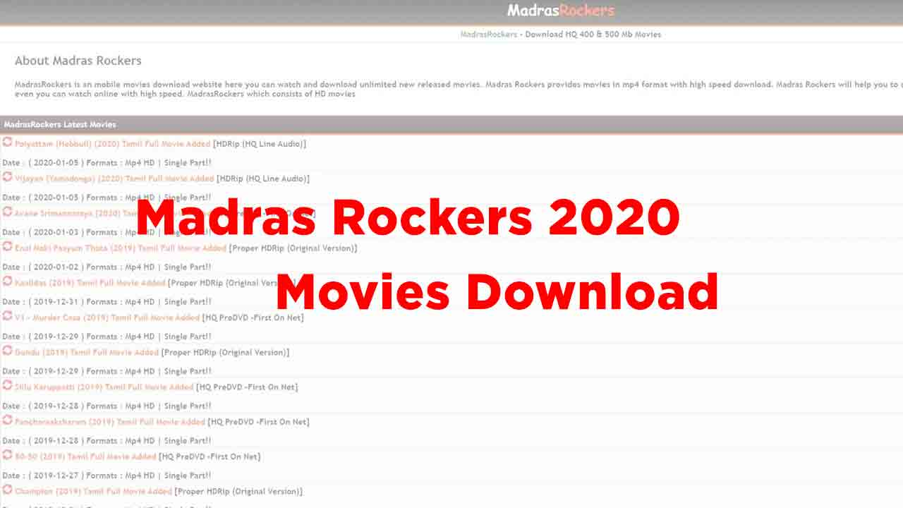 Madras Rockers 2020 Tamil Telugu Movies Download - Trend raja